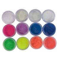12 Boxen / Set Neon Phosphor Pulver Nagel Glitter Pulver 12 Farben Staub Lumi m8