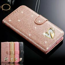 For Samsung Note 10 S9 S8 S7 Leather Bling Heart Wallet Glitter Book Case Cover