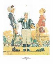 "Norman Rockwell FOOTBALL print ""THE COIN TOSS"" 11x15 American High School sports"