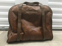 Vintage SINGER Sewing Machine Travel Vinyl Carry Case Storage Bag Brown Leather