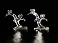 Pair Of Quiske Irish Hand Cut  Crystal Candle Holders.