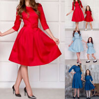 Mother and Daughter Matching Dresses Women Girl Party Mini Dress Family Clothes