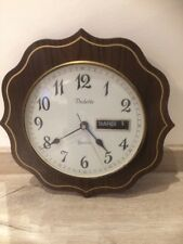 Ancienne Horloge Murale Vedette Dateur Formica ? Vintage Bois Retro French Antik