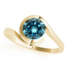 0.75 Carat Blue Diamond SI1 Solitaire Engagement Ring 14k Yellow Gold Best Price