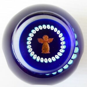 1978 Caithness Angel miniature paperweight. Blue gold Millefiori faceted vintage