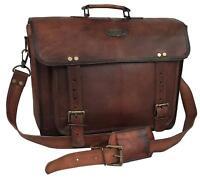 """16"""" Large brown Soft Leather bag for men messenger  shoulder bag mens Laptop Bag"""