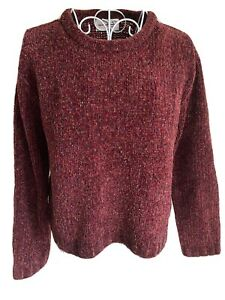 RD Women's Cropped Jumper Size 12 Burgundy Red Mix Crew Neck Long Sleeved