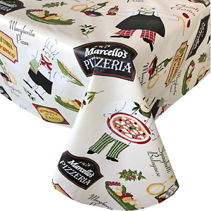 "Newbridge Italian Bistro Chef Vinyl Flannel Backed Tablecloth 52""x52"" NEW"