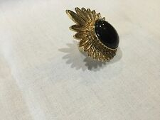 House of Harlow 1960 Nuovo & Autentico PLACCATO ORO SMALTO NERO RING TAGLIA 7 & LOGO