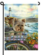 YORKIE painting GARDEN FLAG Yorkshire Terrier puppy basket LIGHT HOUSE Dog ART
