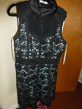 KAREN MILLEN UK14 CUTE FEMININE BLACK LACE DRESS DQ241 NEW WITH TAGS