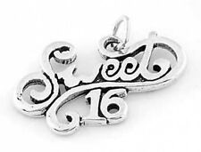 "SILVER FANCY SWEET 16 CHARM W/18"" BOX CHAIN NECKLACE"