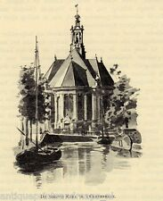 Antique print church The Hague Netherlands  c1880 Nieuwe Kerk (Den Haag)