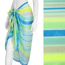 Sarong Swimwear Cover-Up Blue Green Stripe Beach Scarf 76 x 34 inches