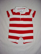 EUC Ralph Lauren Boys Red & White July 4th Rugby Shortall Romper 6 Months
