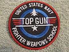 US NAVY FIGHTER WEAPON SCHOOL TOP GUN PATCH  F14 TOMCAT ICEMAN MAVERICK  USS
