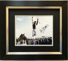 FRANKIE DETTORI HAND SIGNED GOLDEN HORN FRAMED PHOTO DISPLAY HORSE RACING.
