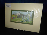 Vintage coloured ART PRINT c1939 Continental house atop hilly landscape