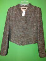 3370) NWT ANN TAYLOR 10 blazer jacket copper black zip up fitted short waist 10