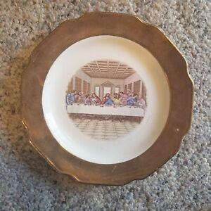 "Vintage Warranted Sabin Crest-O-Gold ""THE LAST SUPPER"" Collector Plate 22K"