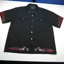 CHROME EAGLE FLAMED Snap Up CHOPPER MOTORCYCLE PIT CREW WORK SHIRT Sz L