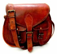 Vintage Style Women Genuine Brown Leather Cross Body Shoulder Bag Handmade Purse