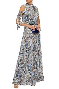 MIKAEL AGHAL Floral Maxi Dress 14AU/UK 10US cold-shoulder long pleated gown