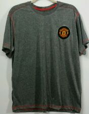 "New listing Manchester United Soccer Gray Short Sleeve Polyester T-Shirt Mens Chest 24.5"""