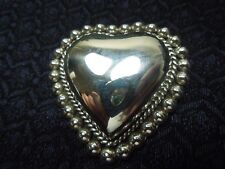 Heart Pin Taxco Inspired, 18.8g Large Sterling Silver Mexico Puffed