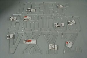 """13 CLEAR ACRYLIC LETTERS-About 4 x 3"""" each-Some Repeats-List in Description"""