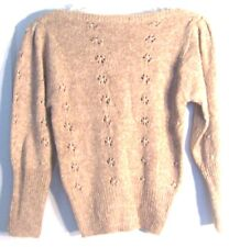 Taupe Tan Sweater w/Flower Cut Outs & Pearl Accents Long Sleeve Size Xs/S