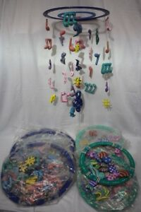 New Lot of 12 Hand Carved Indonesian Baby Crib Mobiles Fish and Music Green/Blue