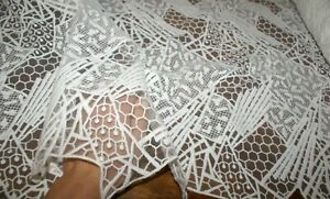 50cm ABSTRACT WHITE COTTON BLEND FRENCH LACE FABRIC, Exclusive, Sewing Material