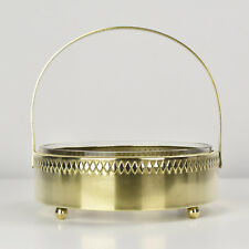 Art Nouveau Handled Brass Bowl with Glass Liner Jugendstil WMF Deffner Style