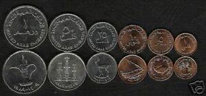 UNITED ARAB EMIRATES 1 5 10 25 50 1 DIRHAM 1988-1997 OIL UNC COIN COMPLETE SET