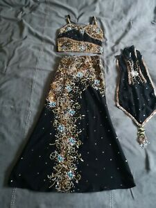Girls Black Asian Indian Outfit Choli Kameez Suit size 26 Waist