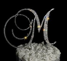 "Handmade Clear Crystals  6"" High Silver Base Wooden Weddin Cake Topper"
