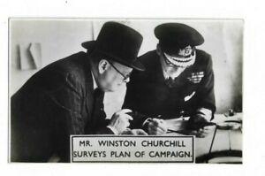 MR WINSTON CHURCHILL SURVEYS PLAN OF CAMPAIGN, RP POSTCARD.