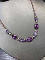 "Vintage Copper  Amethyst purple colour Aurora Borealis crystal necklace 16"""