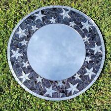 Mosaic Mirror Star Design Wall Silver Glass Stars Fair Trade Hand Made Black