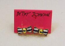 Betsey Johnson ship shape blue/white stripe bow tie~skull stud earrings, NWT