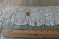 "Antique 19thC French Lace Rose Yardage c1880~L-74"" X W-4""~Dolls"