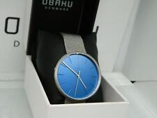 Obaku Men's HASSEL CYAN  Blue Three Hand Dial Steel Mesh Bracelet Watch