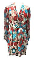 Laundry Shelli Segal Womens Size 10 Silk Lined Dress Blue Red Brown Print