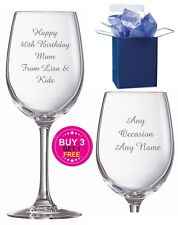 Personalised Wine Glass Engraved Birthday Gifts 50th 60th 70th 80th Gifts
