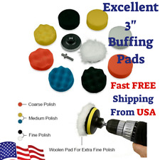 "11Pcs 3"" Set Polishing Waxing Buffing Pad Sponge Kit For Drill Excellent Results"