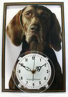 Horloge pendule chien braque allemand 2 clock dog uhr hund reloj