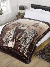 Super Soft Wildcat Faux Fur Mink Fleece Blanket Throw Bedroom Lion Tiger Leopard
