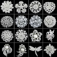 Wedding Bridal DIY Bouquet Crystal Rhinestone Silver Brooch Pin Women Jewellery