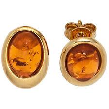 Pendientes Conector Ámbar Naranja-Marrón Oro 375 Oro Amarillo Pendientes Mujer